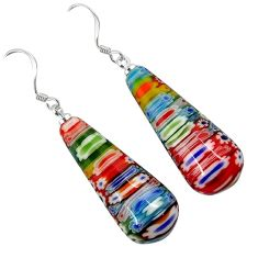 MULTI COLOR ITALIAN MURANO GLASS 925 SILVER TEARDROP DANGLE EARRINGS H29726