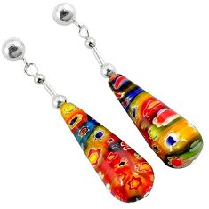 MULTI COLOR ITALIAN MURANO GLASS 925 SILVER TEARDROP DANGLE EARRINGS H29738