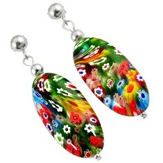MULTI COLOR ITALIAN MURANO GLASS 925 STERLING SILVER DANGLE EARRINGS H29717
