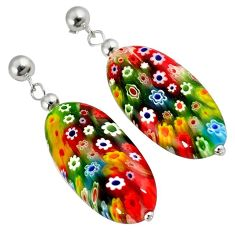 MULTI COLOR ITALIAN MURANO GLASS 925 STERLING SILVER DANGLE EARRINGS H29720
