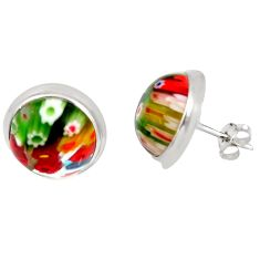 11.73cts multi color italian murano glass 925 sterling silver earrings c5590