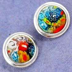 MULTI COLOR ITALIAN MURANO GLASS 925 STERLING SILVER FLOWER STUD EARRINGS H29676