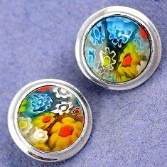 MULTI COLOR ITALIAN MURANO GLASS 925 STERLING SILVER FLOWER STUD EARRINGS H29679