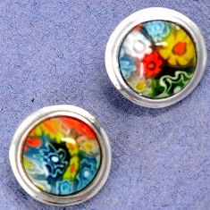 MULTI COLOR ITALIAN MURANO GLASS 925 STERLING SILVER STUD EARRINGS H29677