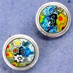 MULTI COLOR ITALIAN MURANO GLASS 925 STERLING SILVER STUD EARRINGS H29680