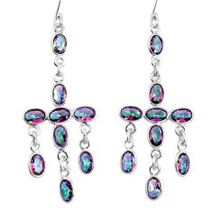 Clearance Sale- 12.99cts multi color rainbow topaz 925 sterling silver dangle earrings d32382