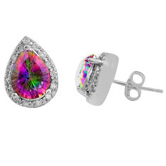 9.29cts multi color rainbow topaz topaz 925 sterling silver earrings c4571
