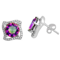 8.06cts multi color rainbow topaz topaz 925 sterling silver stud earrings c4535