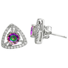 4.30cts multi color rainbow topaz topaz 925 sterling silver stud earrings c4536