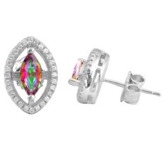 3.87cts multi color rainbow topaz topaz 925 sterling silver stud earrings c4538
