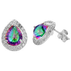 7.13cts multi color rainbow topaz topaz 925 sterling silver stud earrings c4539