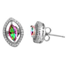 5.87cts multi color rainbow topaz topaz 925 sterling silver stud earrings c4597