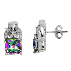 8.43cts multi color rainbow topaz topaz 925 sterling silver stud earrings c5143