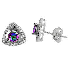2.94cts multi color rainbow topaz topaz 925 sterling silver stud earrings c5154