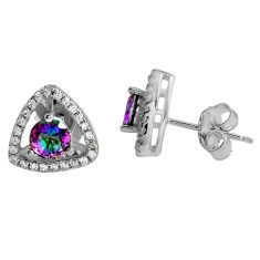 2.96cts multi color rainbow topaz topaz 925 sterling silver stud earrings c5158