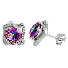 7.67cts multi color rainbow topaz topaz 925 sterling silver stud earrings c5166