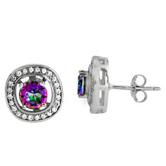 5.71cts multi color rainbow topaz topaz 925 sterling silver stud earrings c5180