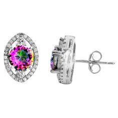 7.15cts multi color rainbow topaz topaz 925 sterling silver stud earrings c5199