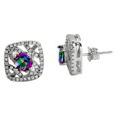 7.61cts multi color rainbow topaz topaz 925 sterling silver stud earrings c5206