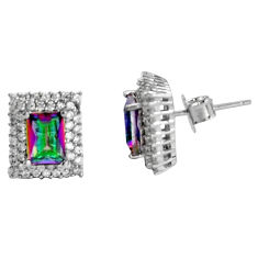 4.90cts multi color rainbow topaz topaz 925 sterling silver stud earrings c5214