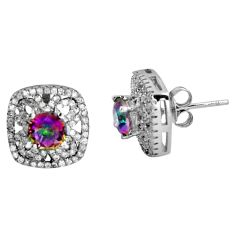 7.21cts multi color rainbow topaz topaz 925 sterling silver stud earrings c5220