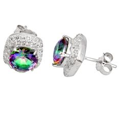7.24cts multi color rainbow topaz topaz 925 sterling silver stud earrings c5562