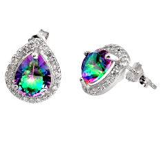 7.39cts multi color rainbow topaz topaz 925 sterling silver stud earrings c5563