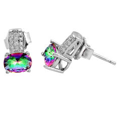 4.16cts multi color rainbow topaz white topaz 925 sterling silver earrings c4573