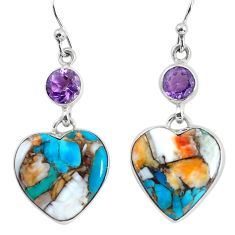 16.92cts multi color spiny oyster arizona turquoise 925 silver earrings p58094