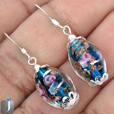 MULTICOLOR DICHROIC FLOWER GLASS 925 STERLING SILVER EARRINGS JEWELRY G38465