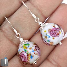 MULTICOLOR DICHROIC FLOWER GLASS 925 STERLING SILVER EARRINGS JEWELRY G38469