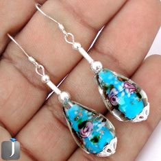 MULTICOLOR DICHROIC GLASS 925 STERLING SILVER DANGLE EARRINGS JEWELRY G34477