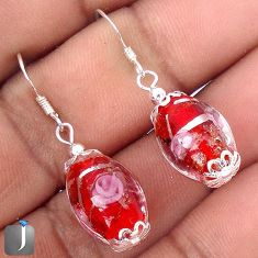 MULTICOLOR DICHROIC GLASS 925 STERLING SILVER DANGLE EARRINGS JEWELRY G42479