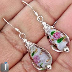 18.94cts MULTICOLOR DICHROIC GLASS 925 STERLING SILVER EARRINGS JEWELRY G42473