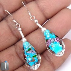 27.23cts MULTICOLOR DICHROIC GLASS 925 STERLING SILVER EARRINGS JEWELRY G42477