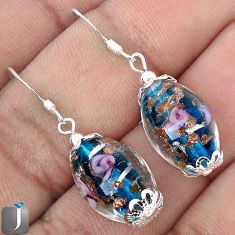 MULTICOLOR DICHROIC GLASS FLOWER 925 STERLING SILVER EARRINGS JEWELRY G70303