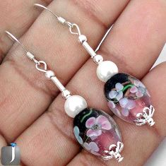 MULTICOLOR DICHROIC GLASS FLOWER PEARL 925 STERLING SILVER EARRINGS G70305
