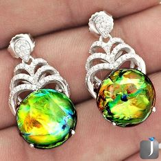 16.38cts MULTICOLOR DICHROIC GLASS TOPAZ 925 SILVER DANGLE EARRINGS G77920