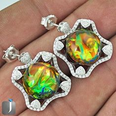 MULTICOLOR DICHROIC GLASS WHITE TOPAZ 925 SILVER DANGLE EARRINGS JEWELRY G34035