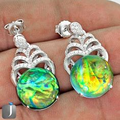 MULTICOLOR DICHROIC GLASS WHITE TOPAZ 925 SILVER DANGLE EARRINGS JEWELRY G34068