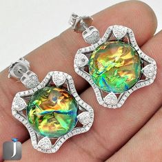 MULTICOLOR DICHROIC GLASS WHITE TOPAZ 925 SILVER DANGLE EARRINGS JEWELRY G34080