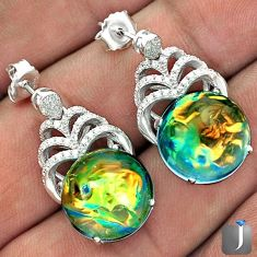 MULTICOLOR DICHROIC GLASS WHITE TOPAZ 925 SILVER DANGLE EARRINGS JEWELRY G42147