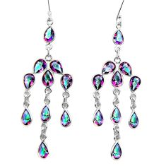 Clearance Sale- 17.90cts multicolor rainbow topaz 925 sterling silver chandelier earrings d32362