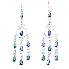 14.47cts multicolor rainbow topaz 925 sterling silver chandelier earrings p39206