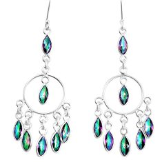 15.65cts multicolor rainbow topaz 925 sterling silver chandelier earrings p39211