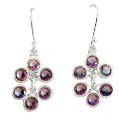 9.13cts multicolor rainbow topaz 925 sterling silver dangle earrings p60625