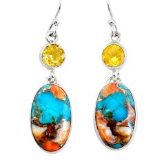 18.25cts multicolor spiny oyster arizona turquoise 925 silver earrings p39602