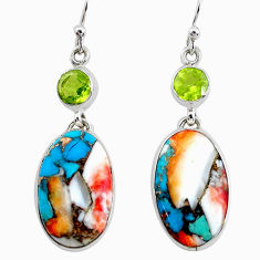 20.85cts multicolor spiny oyster arizona turquoise 925 silver earrings p39610