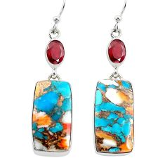 24.39cts multicolor spiny oyster arizona turquoise 925 silver earrings p39611