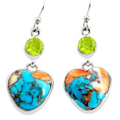 18.77cts multicolor spiny oyster arizona turquoise 925 silver earrings p39625